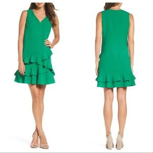 Eliza J NWOT Ruffle Hem Shift Dress Green Sz 8